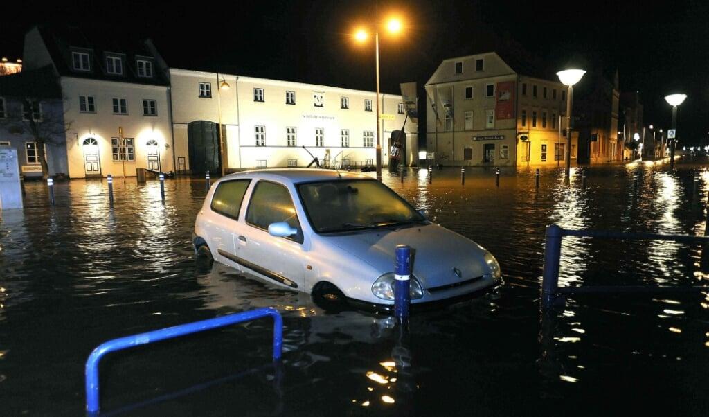 Ved stormfloden i 2017 stod store dele af Flensborgs centrum under vand.  ( Karsten Sörensen                                   )