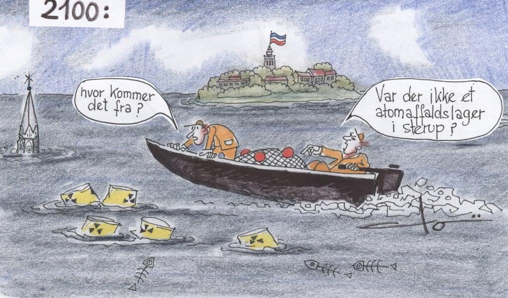<p><br></p><p><br></p>  (Tja... Ikke alene er vandstanden i verdenshavene steget et par meter om 80 &aring;r, hvis man skal tro eksperterne ... man ved heller ikke, hvad der flyder rundt i vandet. Hvis Sterup eller andre smukke steder i Sydslesvig skal bruges som atomlager, s&aring; husk at grave det rigtig dybt ned ... Tegning: Dorsi Doi Germann. Tekst: Sydslesviganonymus)