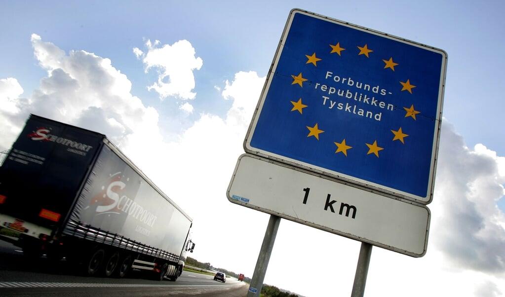 En lastbil ved den dansk-tyske grænse i Padborg.  (Claus Fisker/Ritzau Scanpix)
