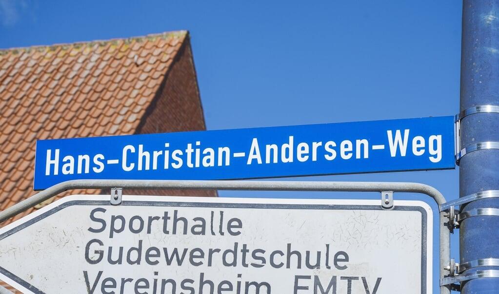 Den danske eventyrforfatter H.C. Andersen har fået en gade opkaldt efter sig i Egernførde. Gaden fører til den danske skole i byen.  (Hans Christian Davidsen)