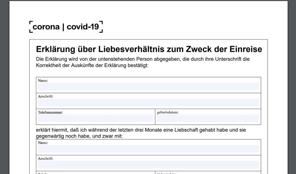 Formularen for kærester findes nu også på tysk. Screenshot  (FlA)