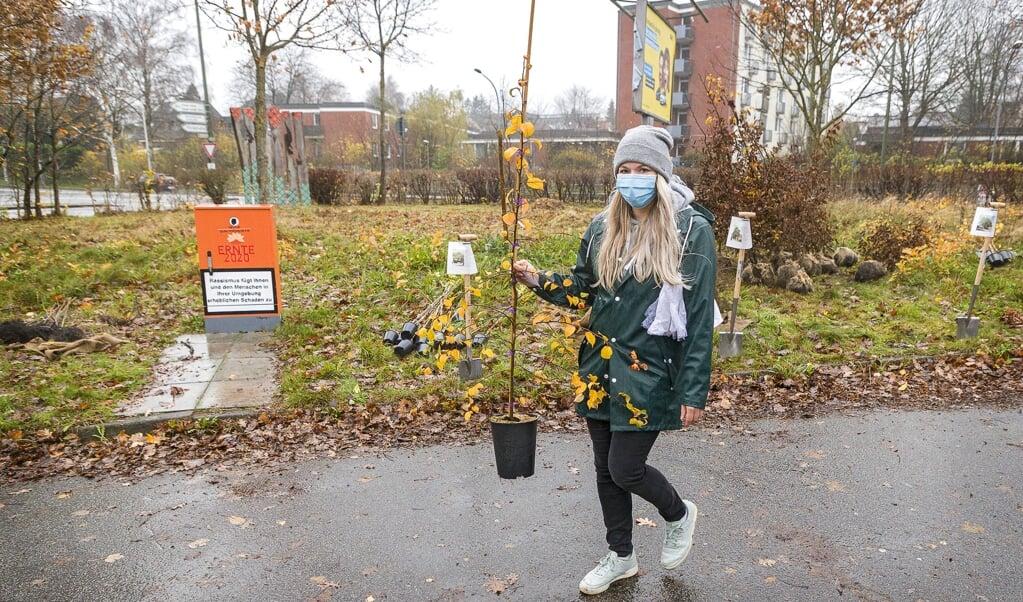Sina Scheuber og hendes familie vil gerne gøre noget for dyrelivet hjemme i haven, så de er blevet træfaddere for et skovæbletræ.  ( Lars Salomonsen)