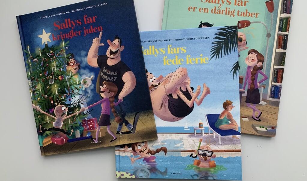 """Serien """"Sallys far"""" tæller foreløbig otte bøger. I dag anmelder vi de tre seneste.  ( Grit)"""