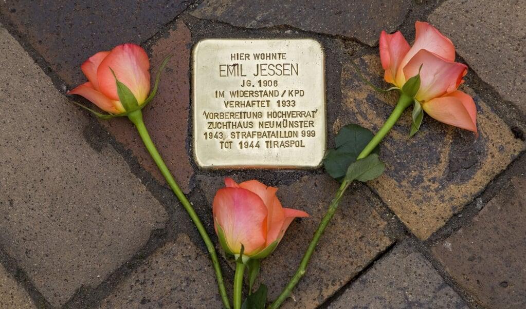 Snublesten til minde om mindretalsdanskeren Emil Jessen.   ( Lars Salomonsen)