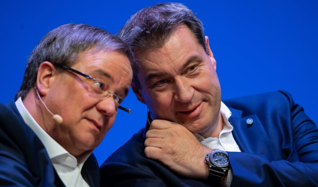 Hverken Nordrhein-Westfalens ministerpræsident og CDU-formand Armin Laschet eller CSU-chef og ministerpræsident Markus Söder har officielt meddelt, at de har ambitioner om at indtage kanslerkontoret.    (Guido Kirchner/dpa.)