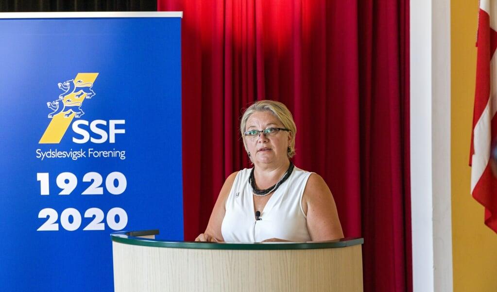 <p>Gitte Hougaard-Werner skitserede mange m&aring;der at tage fat p&aring; debatten om mindretallets struktur. Responsen var spag p&aring; SSFs hovedstyrelsesm&oslash;de tirsdag p&aring; Slesvighus.&nbsp;</p>  (Arkivfoto: Lars Salomonsen)