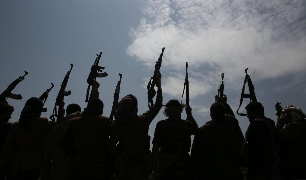 I Yemen har der siden 2015 været borgerkrig. På billedet ses houthi-oprørernes allierede ved en demonstration i august 2020.   ( Hani Mohammed/AP/dpa)