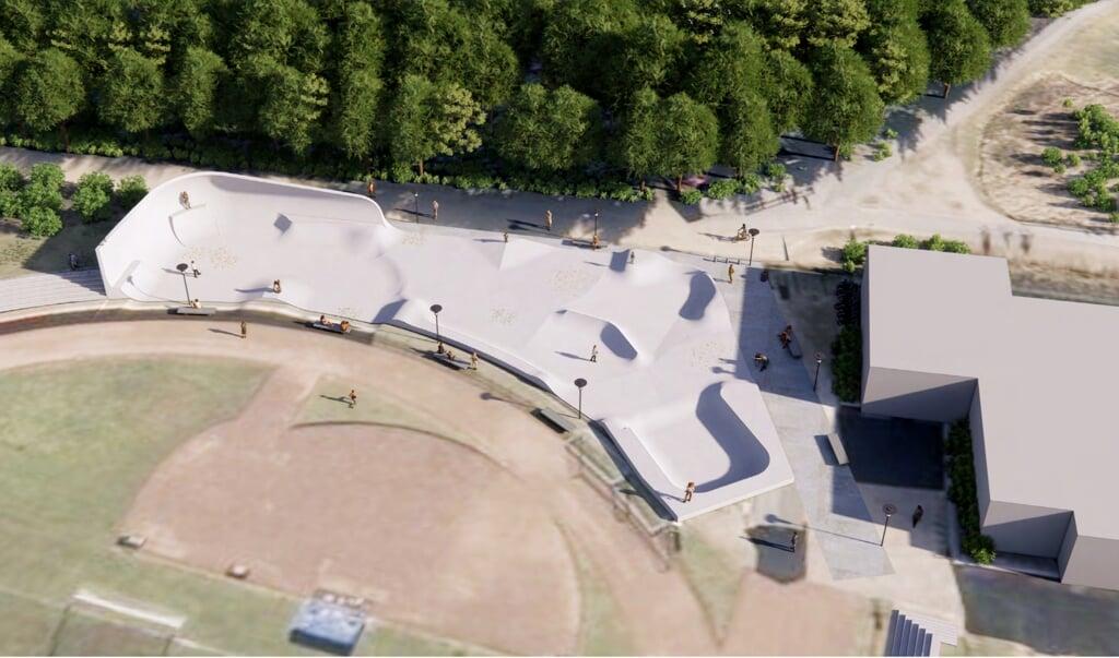 Sådan skal den første del af skateparken se ud. De ansvarlige håber, at byggearbejdet kan gå i gang i april 2021.   (Illustration: Glifberg og Lykke)