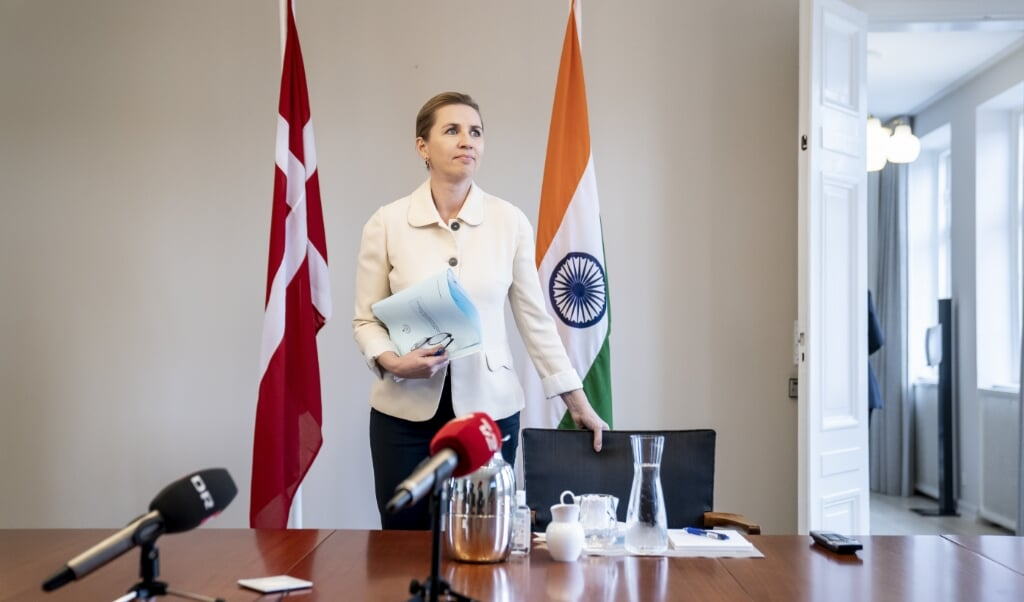 <p>Statsminister Mette Frederiksen (S) holdt virtuelt topm&oslash;de med Indiens premierminister p&aring; Marienborg i Kongens Lyngby mandag.</p>  ( Mads Claus Rasmussen/Ritzau Scanpix)