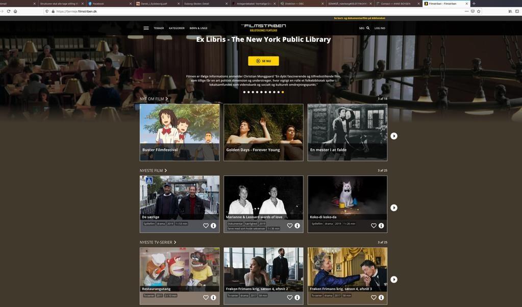 Der er adgang til et meget stort antal danske og udenlandske film på filmstriben.dk. Film som alle danskere med et lånerkort meget let kan streame. Screenshot: Flensborg Avis   (Flensborg Avis )