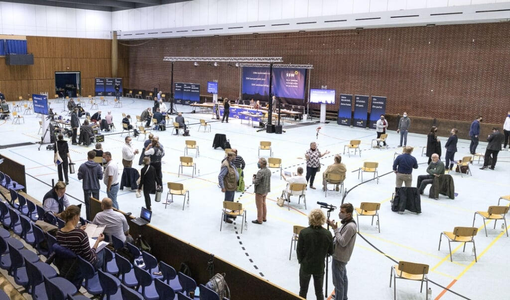 SSWs seneste landsmøde blev afholdt i Idrætshallen i Flensborg. Lørdagens møde er på A.P. Møller Skolen i Slesvig.  Arkivfoto:  (Lars Salomonsen)