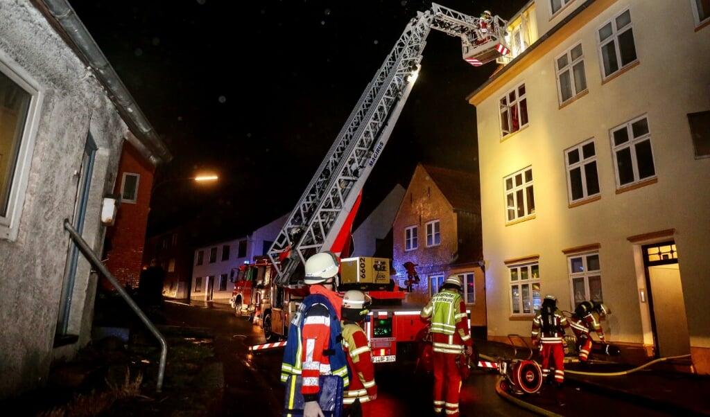 Branden var opståët i et køkken på første sal.  ( Heiko Thomsen/Foerde.news)