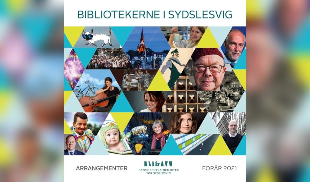 Forsiden af Centralbibliotekets forårsprogram viser bl.a. nogle af de foredragsholdere, der er inviteret til Sydslesvig.  (DCBib)
