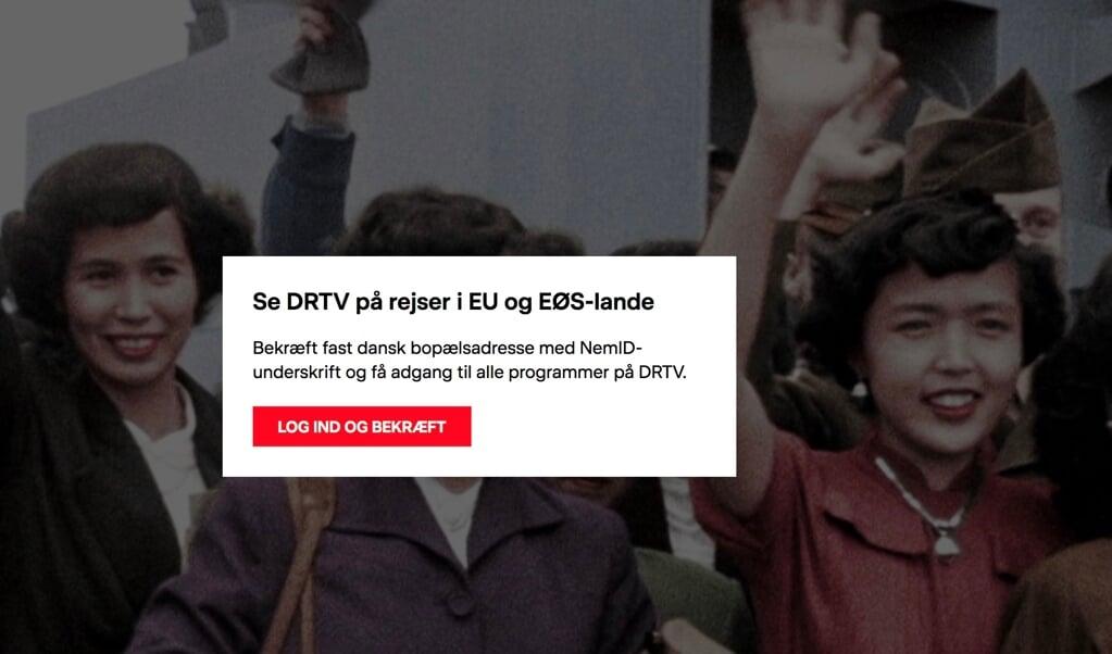 Sådan ser det ofte ud, hvis man fra Sydslesvig for tiden på nettet prøver at se et program fra for eksempel Danmarks Radio. Screenshot  (FlA)