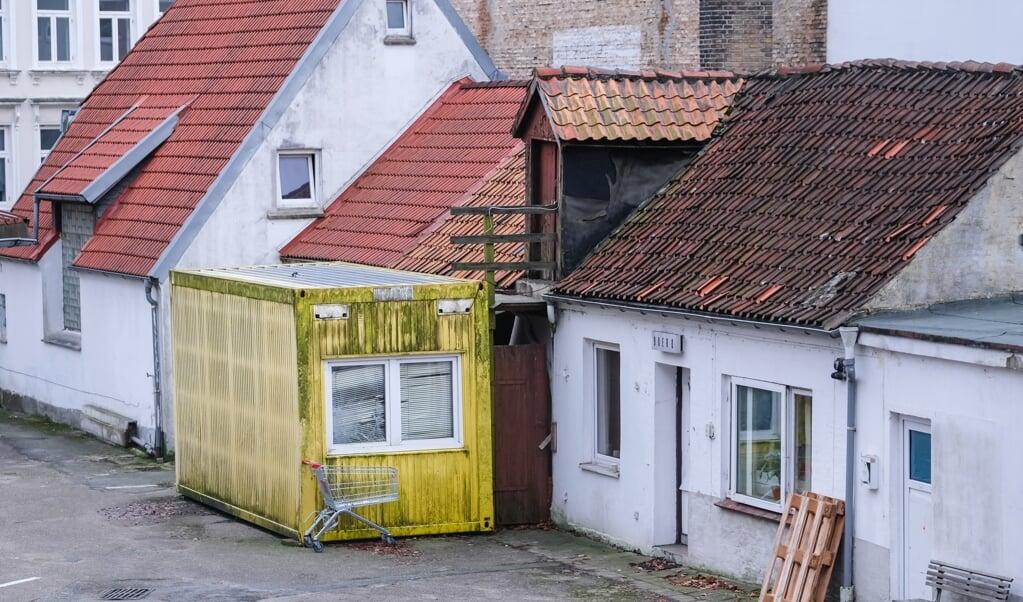 Denne container var Mandy Petersens hjem, indtil hun blev presset til at flytte ud.   (Sebastian Iwersen)