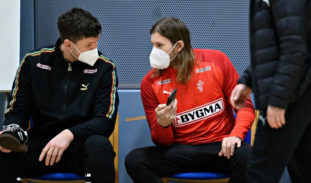 Die Dänen Niklas Landin und Mikkel Hansen hatten zwei Testspiele gegen Norwegen. Die beiden sind Schlüsselspieler für das dänische Team.  ( Philip Davali/Ritzau Scanpix)
