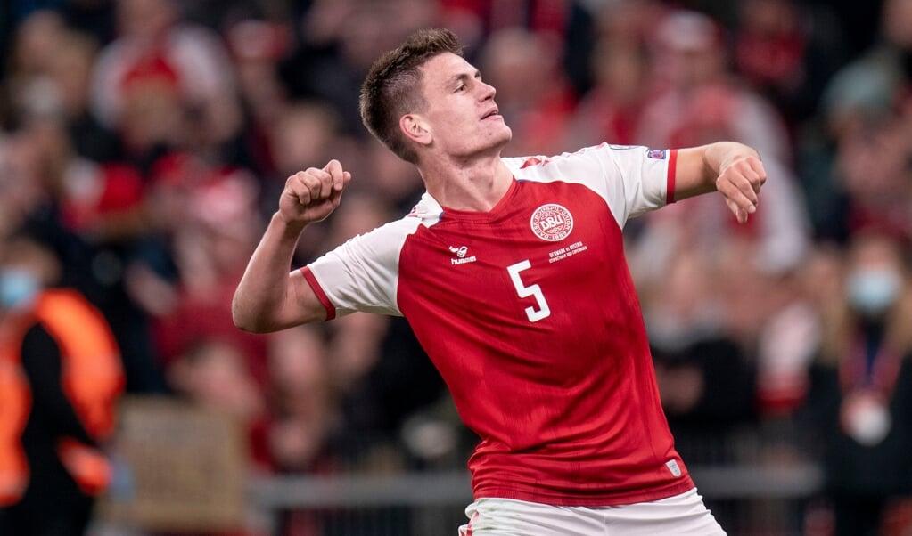 Joakim Mæhle efter VM-kvalifikationskampen mellem Danmark-Østrig i Parken.   (Liselotte Sabroe/Ritzau Scanpix)