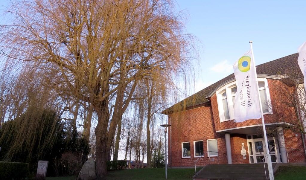 Grædepilen ved siden af nationalpark-forvaltningens bygning i Tønning skal fældes. Træet rådner og er til fare for forbipasserende.  ( Claußen / LKN.SH)