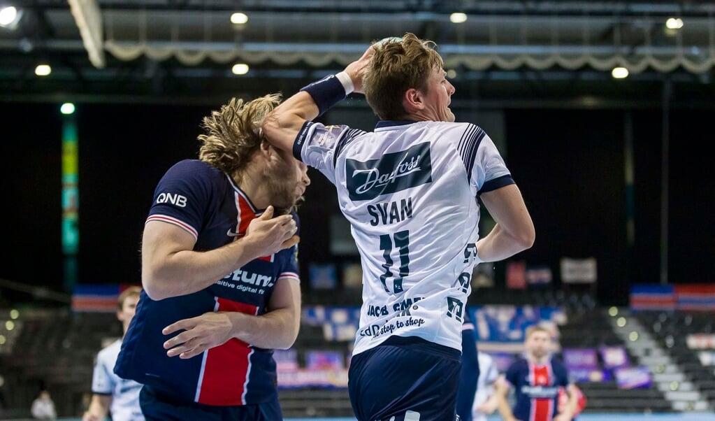 Lasse Svan hat seinem Landsmann Mikkel Hansen in der Champions League gleich zwei Mal eins ausgewischt. Nach dem Sieg in Paris gewann die SG Flensburg-Handewitt auch das Rückspiel.  ( Lars Salomonsen)
