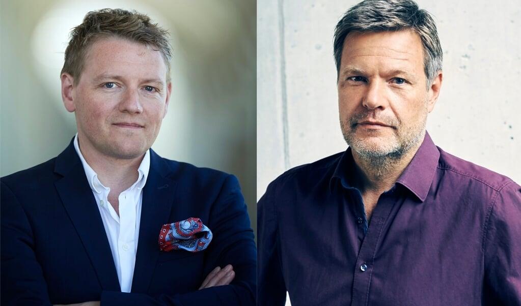 Harald Haugaard (t.v.) og Robert Habeck vil på fredag diskutere kulturens aktuelle situation ved en online-paneldebat.  ( De Grønne)