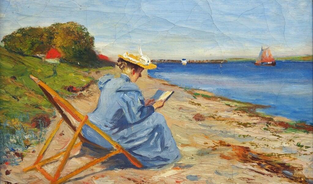 Alex Eckener fra Flensborg malede dette billede af sin hustru under et ophold i Egernsund.   ( Museumsberg Flensburg)