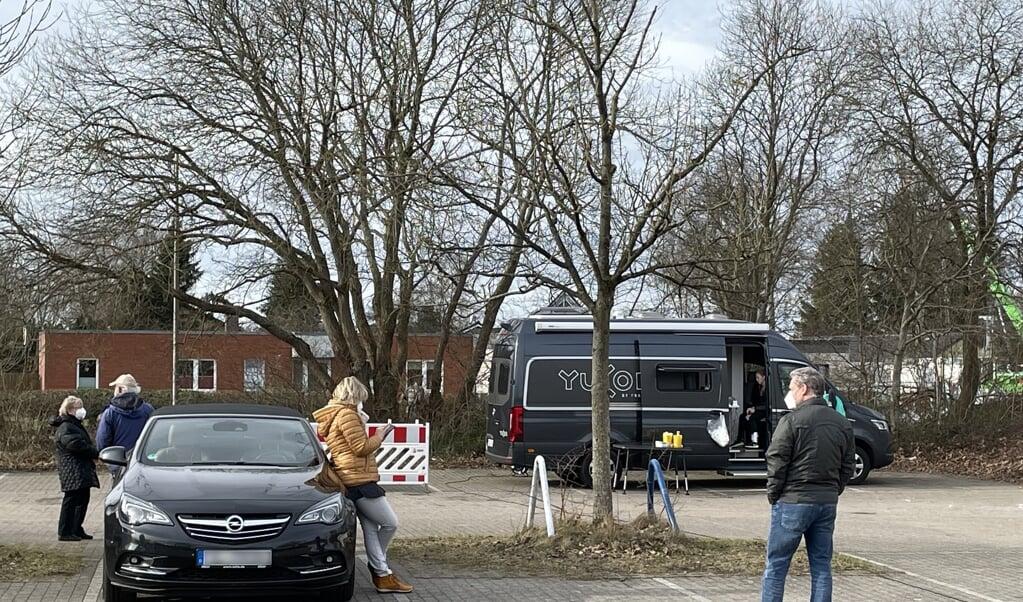 Der kom kun få til Fördegymnasium i Flensborg for at få en gratis coronatest onsdag ved middagstid.  ( Iris Uellendahl)