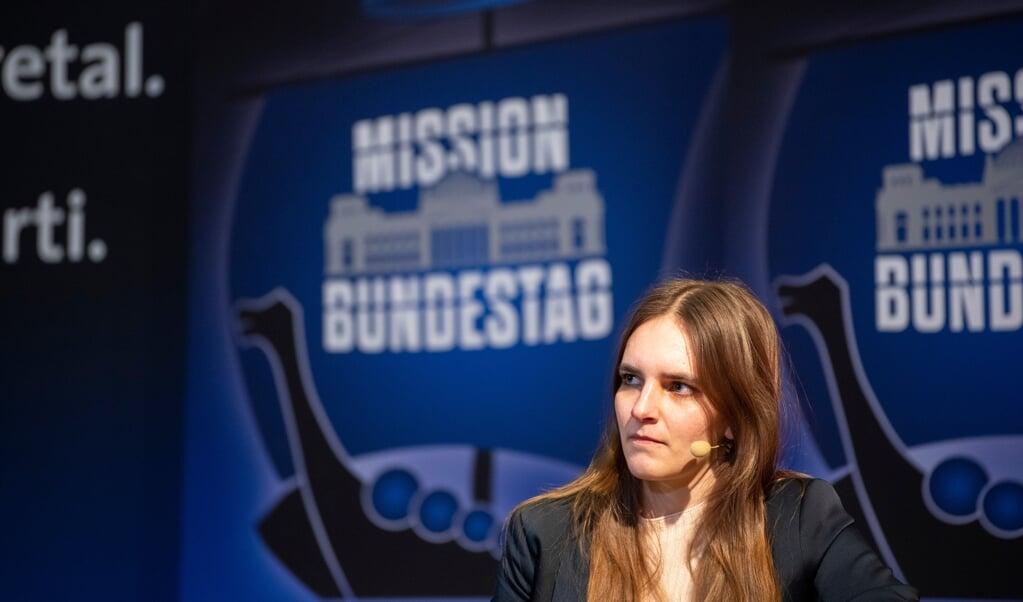 Der skal kæmpes for hver stemme til forbundsdagsvalget, understreger Maylis Roßberg, forkvinde for SSWUngdom og kandidat nummer to på SSWs liste til valget.    (Kira Kutscher)