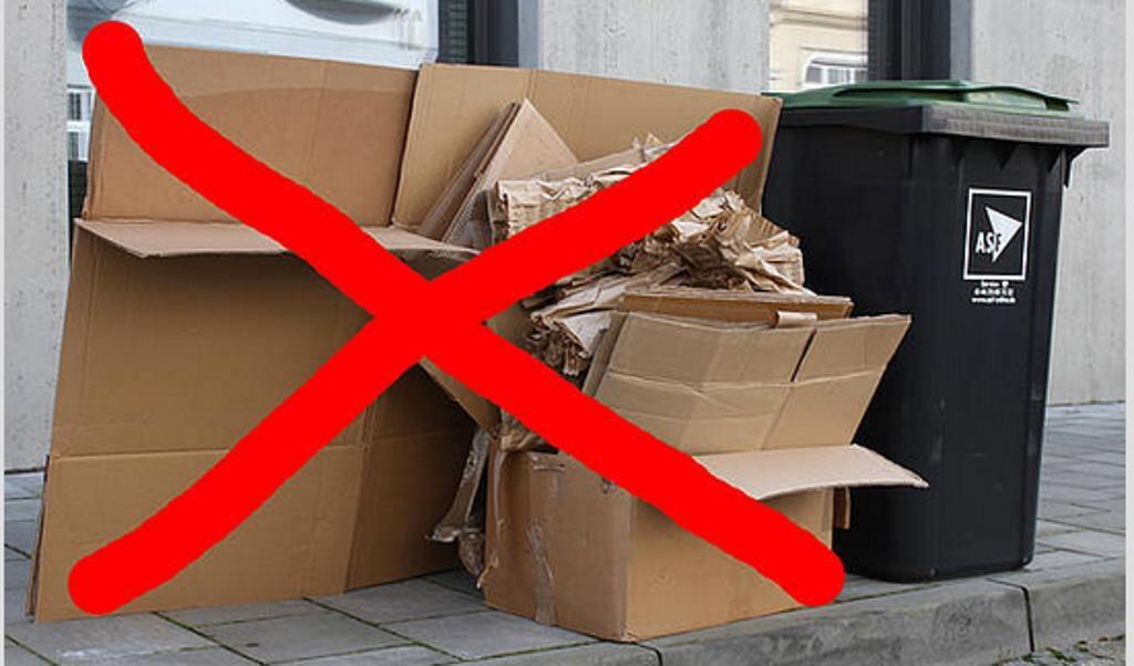 Auch in Zukunft wird an Abfuhrtagen der Papiertonne der beigestellte Papp-Müll nicht entsorgt. Darauf machte nun der Entsorger erneut aufmerksam. Bildschirmfoto:  (ASF)