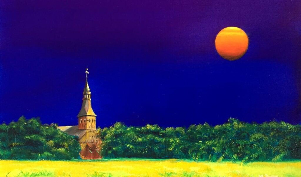 Billedet viser Skt. Anna-kirken i Tetenbøl og er malet af Miriam Frerix.    (Haus Peters)