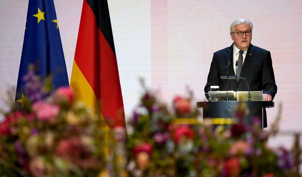 Forbundspræsident Frank-Walter Steinmeier opfordrede i sin tale under mindehøjtidelighed samfundet til sammenhold.  ( Michael Sohn/dpa)