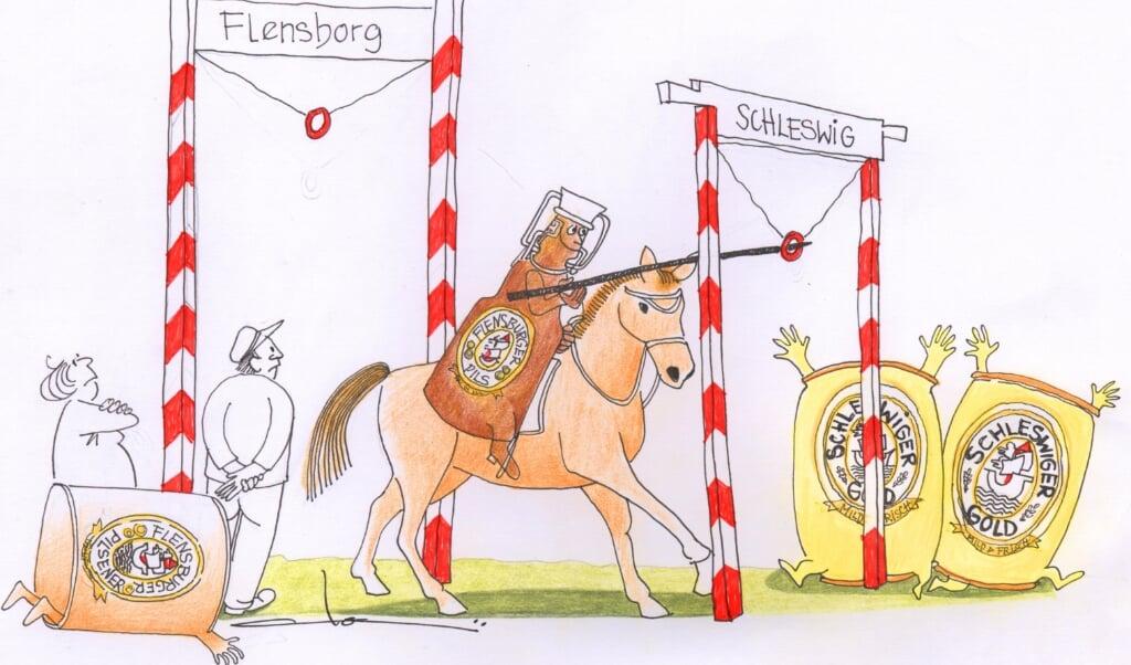Flensborg mistede et lille stykke af sin identitet, da Flensburger Brauerei forleden besluttede at forlægge et nyt stort lager til Slesvig. Bryggeriet blev træt af at vente på det endelige ja til at kunne bygge i Flensborg.  (Tegning: Dorsi Doi Germann. )