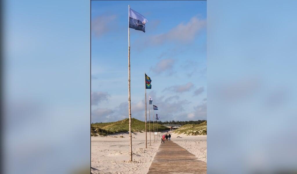 Das Foto zeigt einige der bei dem Projekt »New Adventures in Vexillology #5« des Kunstvereins Amrum entstnandenen Strandflaggen am Übergang zum Badestrand Nebel auf Amrum. In diesem Jahr findet das Projekt zum siebten Male statt.   (Sandra Hermannsen)
