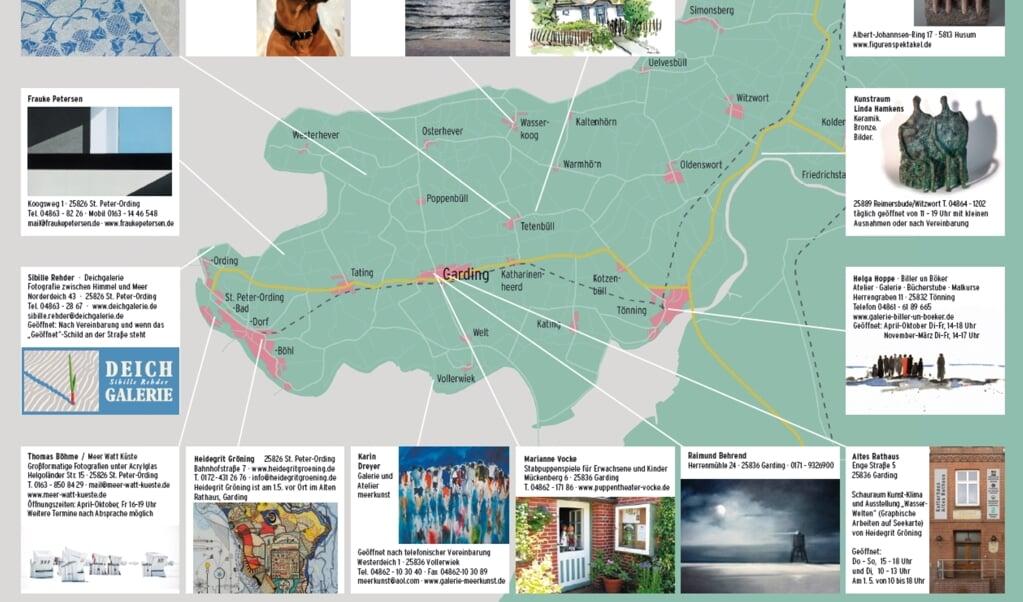 Die Karte zeigt, wo überall man auf Eiderstedt am 1. Mai Ateliers und Galerien besichtigen kann. Grafik:   (FKE)