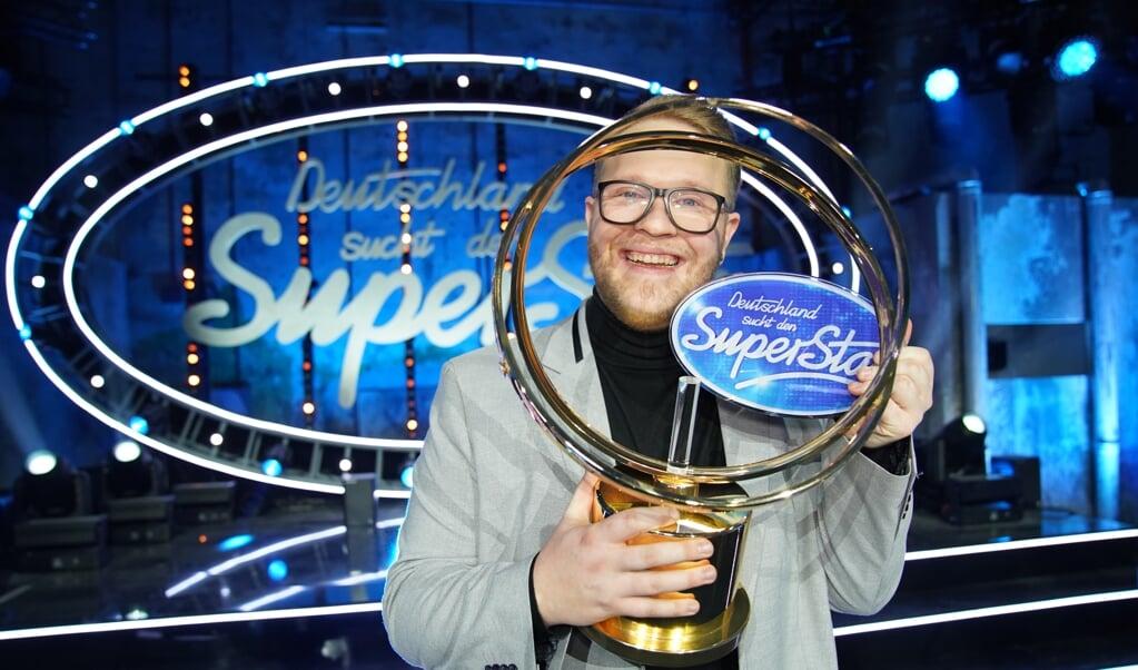Jan-Marten Block fra Sønder Løgum vandt lørdag aften finalen og blev Tysklands »superstar« for 2021.  ( Stefan Gregorowius/TVNOW/dpa)
