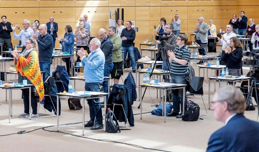 Der var 127 delegerede til landsmødet i A. P. Møller Skolen i Slesvig. Rekordstort i nyere tid. Fotos: Lars Salomonsen  (Lars Salomonsen.)