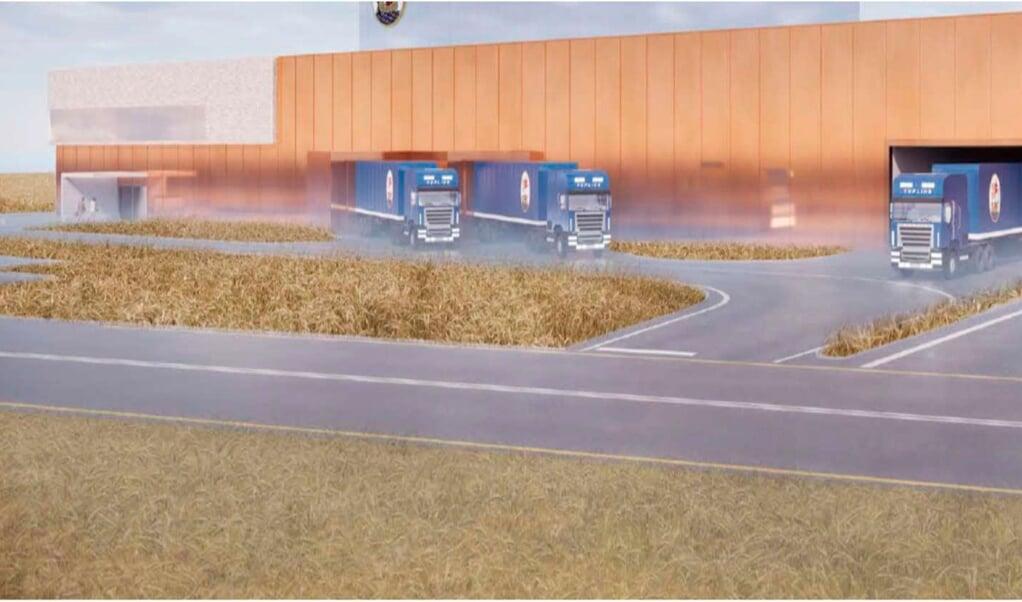 So oder so ähnlich könnte das neue Logistikzentrum der Flensburger Brauerei im Gewerbepark Schleswig-Schuby aussehen. Grafik:  (Flensburger Brauerei)
