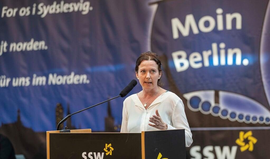 SSWs valgkredskandidat i Nordfrisland-Ditmarsken Sybilla Nitsch tror på, at der er stemmer at hente i Danmark.    (Lars Salomonsen)
