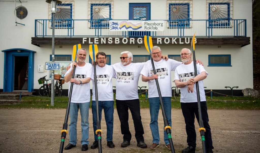 For 50 år siden drog Henry Heddergott, Rainer Ehrich, Holger Hansen, Herbert Pfuhl og Rolf Voss sammen på langfart. Mandag mødtes de igen.  ( Kira Kutscher)