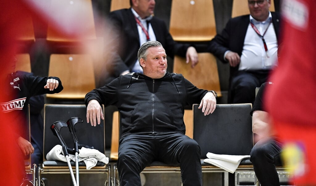 Nikolaj Jacobsen ses her under Danmarks kamp mod Finland i søndags. Danskerne vandt kampen i Aarhus overlegent.  (Ernst Van Norde/Ritzau Scanpix)