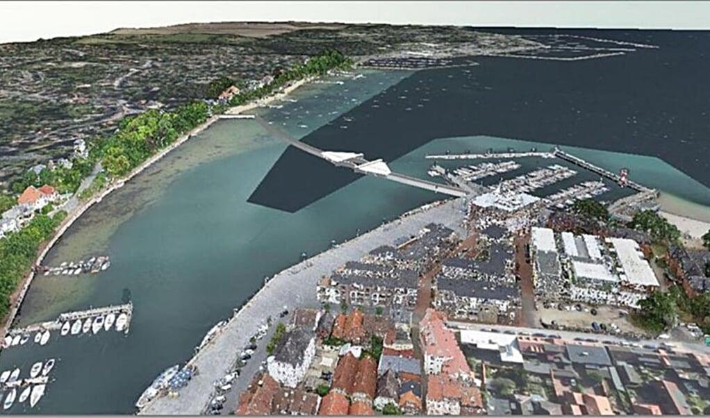 Omtrent sådan kommer den store dæmning tværs over fjorden til at se ud. Grafik:   (Stadt Eckernförde/Ingenieurbüro Dr. Lehners + Wittorf)