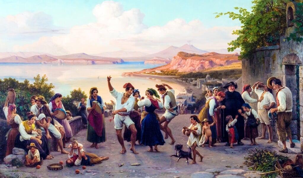 Wilhelm Marstrand: »En dans i det frie på Ischia«, 1847.   (Ribe Kunstmuseum)