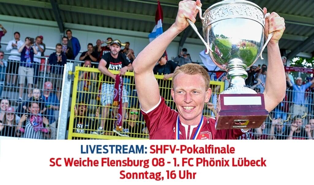 Am Sonntag ab 16 Uhr ist das Finale mit dem SC Weiche Flensburg 08 um Patrick Thomsen per Livetream über unsere Internetseite zu sehen.  (Grafik: Lisa Hammond Ylander)
