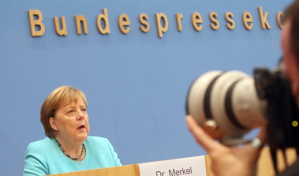 Angela Merkel holdt torsdag sit sidste sommerpressemøde.    (Wolfgang Kumm/dpa)