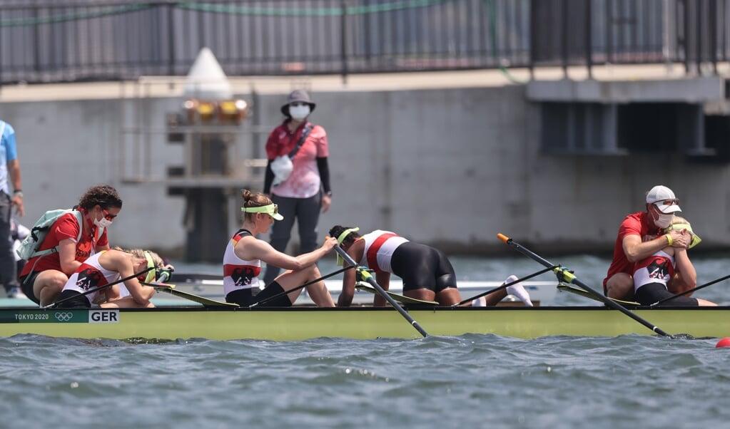 Der Doppelvierer der Frauen mit Daniela Schultze, Franziska Kampmann, Carlotta Nwajide und Frieda Hämmerling kam im Finale nur auf Rang fünf.   ( Jan Woitas/dpa)