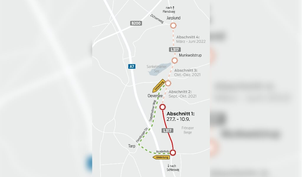 Die L317 wird vom kommenden Dienstag an bis voraussichtlich Sommer 2022 zwischen Süderschmedeby und Jarplund erneuert. Grafik:  (Eyla Boysen)