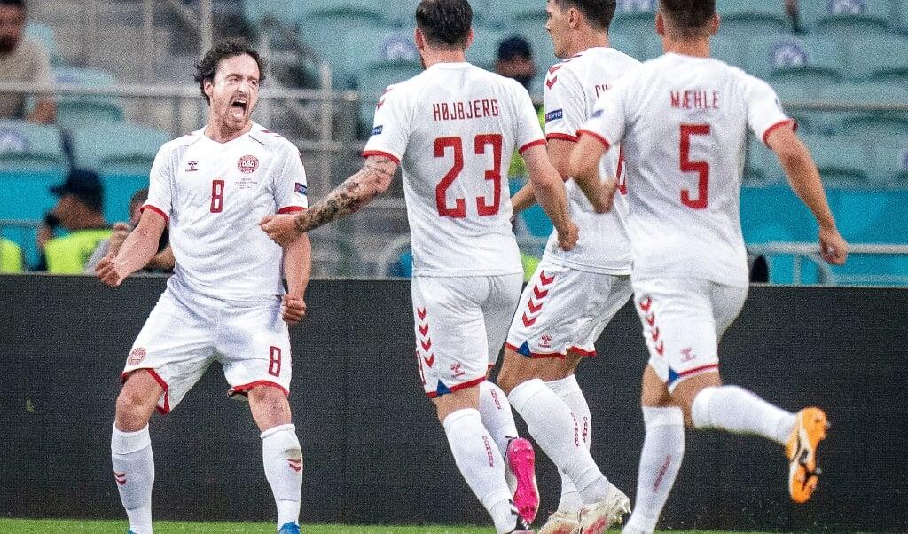 Thomas Delaney til 1-0 under kvartfinalen mellem Danmark - Tjekkiet på Baku Olympic Stadium i Aserbajdsjan, lørdag den 3. juli 2021.   ( Liselotte Sabroe/Ritzau Scanpix)