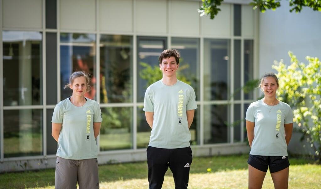 Schleswig-Holstein-Trio: Friderike Limberg (v. r.), Bendix Hempel und Leoni Mieke Schmidt.  ( dsj/DOA)