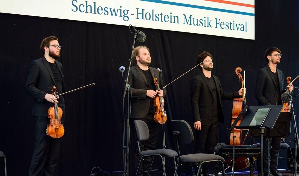 Strygekvartetten Goldmann - fra venstre er det Florian Schötz, Pinchas Adt, Raphael Paratore og Christoph Vandory.   ( Hans Christian Davidsen)