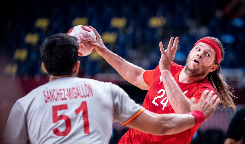 Mikkel Hansen blev aftenens topscorer for Danmark.  ( Liselotte Sabroe/Ritzau Scanpix)