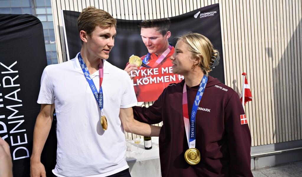 Viktor Axelsen og Anne-Marie Rindom vandt begge guld til Danmark ved OL i Tokyo.  (Philip Davali/Ritzau Scanpix)